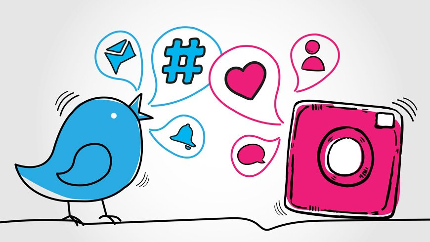 come scrivere su Twitter e Instagram