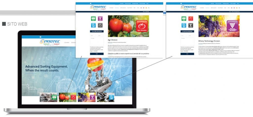 sito web protec sorting equipment web agency cabiria parma